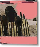 Art Homage Andrew Wyeth Bucket Fence Collage Near Aberdeen South Dakota 1965-2012 Metal Print