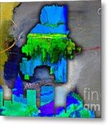Atlanta Map And Skyline Watercolor Metal Print