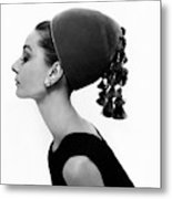 Audrey Hepburn Wearing A Givenchy Hat Metal Print