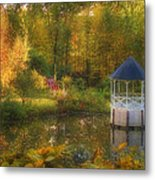 Autumn Gazebo Metal Print by Joann Vitali