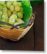 Basket Of Grapes On Rustic Wooden Table Metal Print