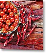 Basket Of Ripe Cherry Tomatoes And Dried Red Chillies On Rustic  Metal Print