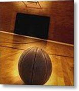 Basketball And Basketball Court Metal Print