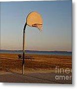 Basketball Goal At Sandy Point Metal Print