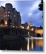Bath City Spa Viewed Over The River Avon At Night Metal Print