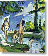 Bathers By Cezanne Metal Print