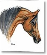 Bay Arabian Horse Watercolor Painting  Metal Print
