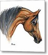Bay Arabian Horse Watercolor Painting  Metal Print
