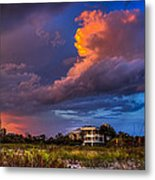 Beach Front Rain Metal Print by Marvin Spates