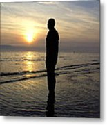 Beach Sculpture At Crosby Liverpool Uk Metal Print