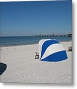 Beach With Beachchairs Metal Print