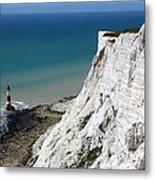 Beachy Head Cliffs And Lighthouse  Metal Print