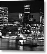 Beautiful Black And White Image Of London City At Night With Lov Metal Print