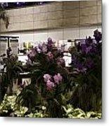 Beautiful Flowers Inside The Changi Airport In Singapore Metal Print