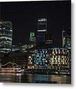 Beautiful Night City Skyline Landscape Image Of City Of London Metal Print