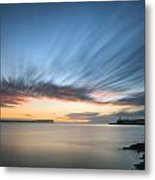 Beautiful Vibrant Sunrise Sky Over Calm Water Ocean With Lightho Metal Print