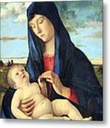 Bellini's Madonna And Child In A Landscape Metal Print