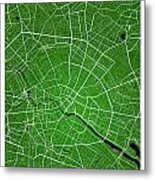 Berlin Street Map - Berlin Germany Road Map Art On Colored Backg Metal Print