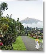 Besakih Temple And Mount Agung View In Bali Indonesia Metal Print