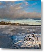 Bike On Frozen Lake Laberge Yukon Canada Metal Print