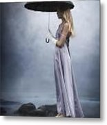 Black Umbrella Metal Print