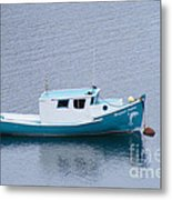 Blue Moored Boat Metal Print