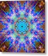 Blue Rainbow Star Mandala Metal Print