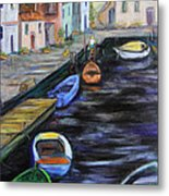 Boats In Front Of The Buildings IIi Metal Print