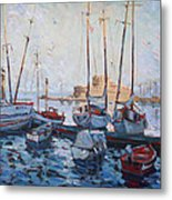 Boats In Rhodes Greece  Metal Print