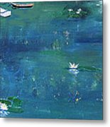2 Boats In The Lily Pond Metal Print