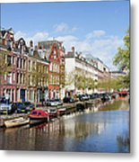 Boats On Amsterdam Canal Metal Print