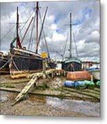 Boats On The Hard At Pin Mill Metal Print