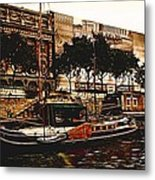 Boats On The Seine Metal Print
