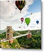 Bristol Balloon Fiesta Display Over Clifton Suspension Bridge Metal Print