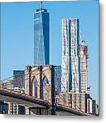 Brooklyn Bridge And New York City Manhattan Skyline Metal Print