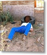 Brown Dirt Cowboy Metal Print
