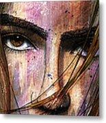 Brown Iris Entangled Metal Print