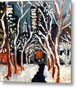 Bryant Park Winter Night Nyc Metal Print