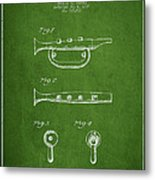 Bugle Call Instrument Patent Drawing From 1939 - Green Metal Print