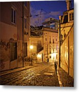 Calcada Da Gloria Street At Night In Lisbon Metal Print