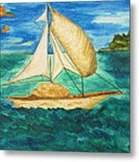 Camouflage Sailboat Metal Print by Debbie Nester