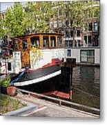 Canal In The City Of Amsterdam Metal Print