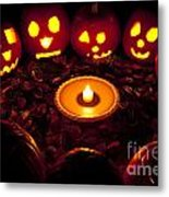 Carved Pumpkins With Pumpkin Pie Metal Print