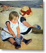 Cassatt's Children Playing On The Beach Metal Print