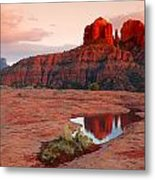 Cathedral Rock Reflection Metal Print