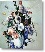 Cezanne's Flowers In A Rococo Vase Metal Print