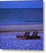 2 Chairs On A Blue Morning  Metal Print