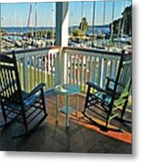 2 Chairs On The Fairhope Yacht Club Porch Metal Print