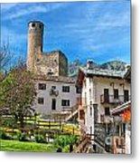 Chatelard Village With Castle Metal Print