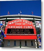 Chicago Cubs - Wrigley Field Metal Print by Frank Romeo